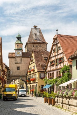 Rothenburg ob der Tauber historic town downtown in  Bavaria, Germany