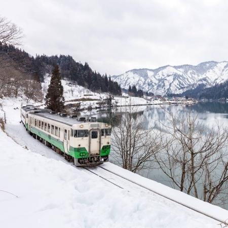 Photo for Winter landscape of snowy bridge with Train - Royalty Free Image