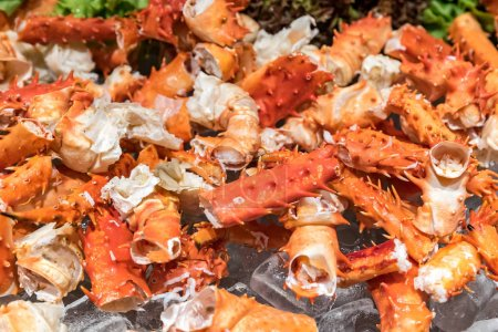alaskan king crab and seafood on ice