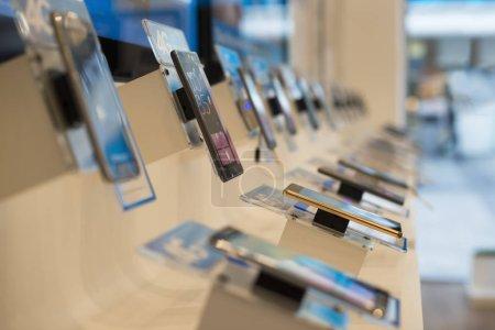 Smartphones in Telecommunication shop.