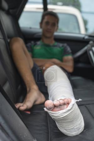 Boy have his leg broken