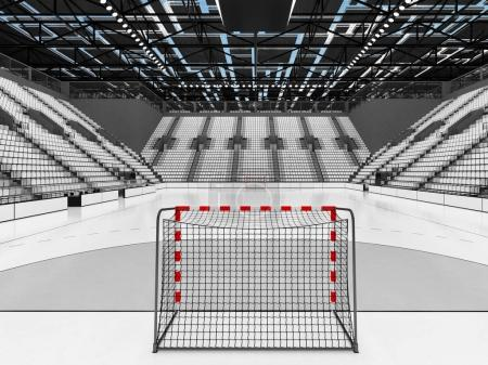 Modern sports arena for handball with white seats and VIP boxes for ten thousand fans