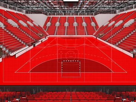 Photo for 3D render of beautiful sports arena for handball with floodlights and red chairs and VIP boxes for ten thousand people - Royalty Free Image