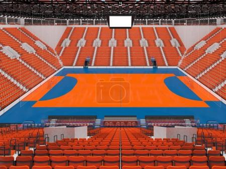 Photo for 3D render of beautiful sports arena for handball with floodlights and orange chairs and VIP boxes for ten thousand people - Royalty Free Image
