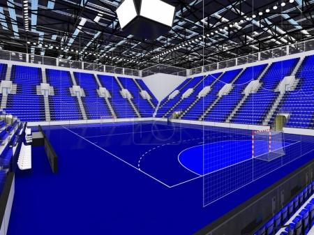 Photo for 3D render of beautiful sports arena for handball with floodlights and blue seats and VIP boxes for ten thousand people - Royalty Free Image