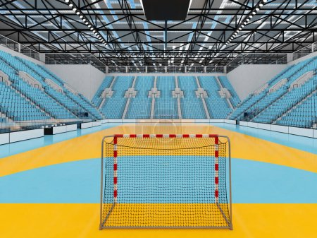 Photo for 3D render of beautiful sports arena for handball with floodlights and sky blue seats and VIP boxes for ten thousand people - Royalty Free Image