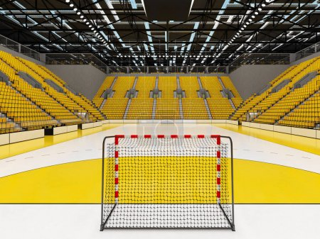3D render of beautiful  sports arena for handball with yellow seats and VIP boxes
