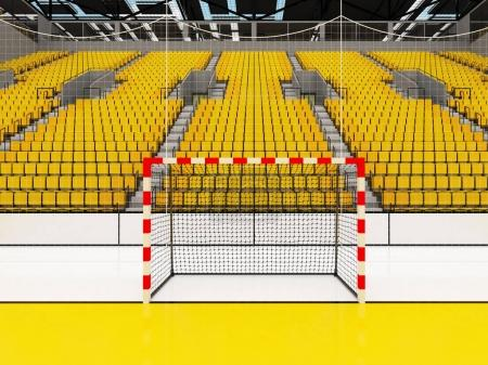 Photo for Beautiful sports arena for handball with yellow seats and VIP boxes for ten thousand fans - Royalty Free Image