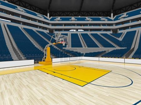 Photo for 3D render of beautiful sports arena for basketball with floodlights , VIP boxes and blue seats for twenty thousand fans - Royalty Free Image