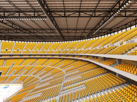 Photo for 3D render of beautiful sports arena for ice hockey with yellow seats and VIP boxes for fifty thousand people - Royalty Free Image