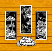 Set bookmarks for coloring on Halloween with pumpkins witch