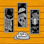 Set bookmarks for coloring on Halloween with owl skull witch