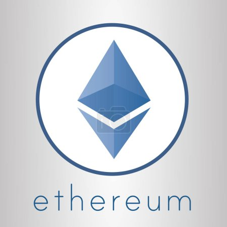 Illustration for Ethereum cripto currency chrystal art icon for apps and websites. Ethereum vector logo for print of web. - Royalty Free Image