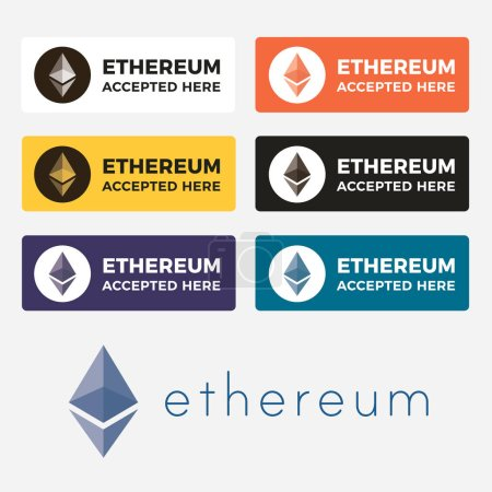 Illustration for Ethereum cryptocurrency icon set and logo for web or sticker for print. Electronic money on blockchain technology. - Royalty Free Image