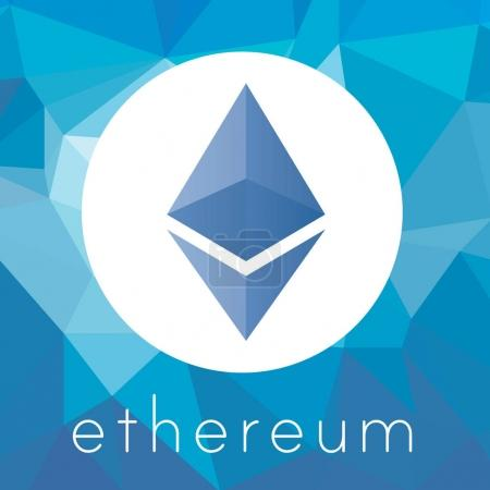 Illustration for Ethereum cripto currency chrystal art icon logo for apps and websites - Royalty Free Image
