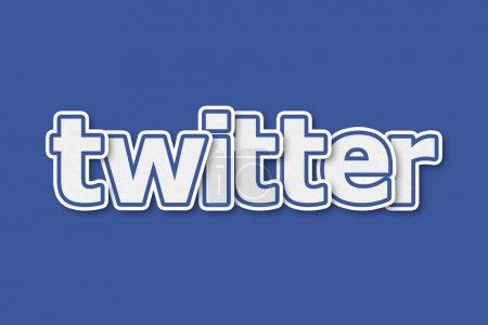 Photo pour Illustration logo Twitter sur fond bleu - image libre de droit