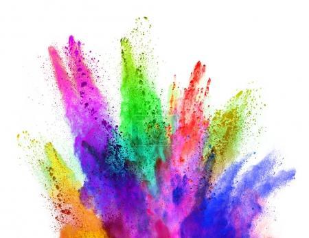 Photo pour Explosion de poudre colorée, isolé sur fond blanc. Concept art et pouvoir, blust abstraite de couleurs. - image libre de droit