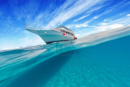 Small safari boat with beautiful split shot under and above wate