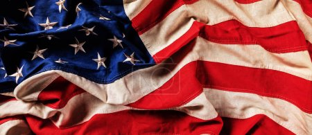 Close-up of USA flag in grunge design