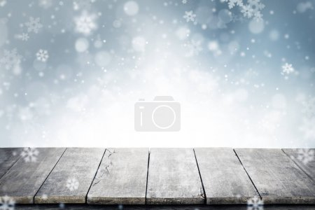 Christmas background with empty vintage planks and copyspace for