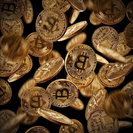 Bitcoins, cryptocurrecny of future. Isolated on black background