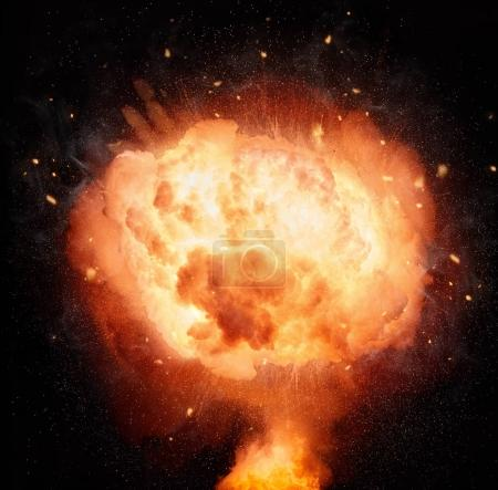Atomic bomb explosion isolated on black background