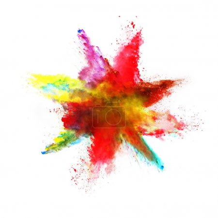 Abstract colored powder explosion on white background