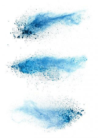 Abstract blue powder explosion isolated on white background.