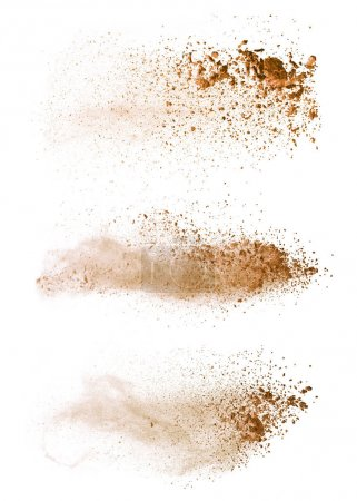 Abstract colored brown powder explosion isolated on white backgr