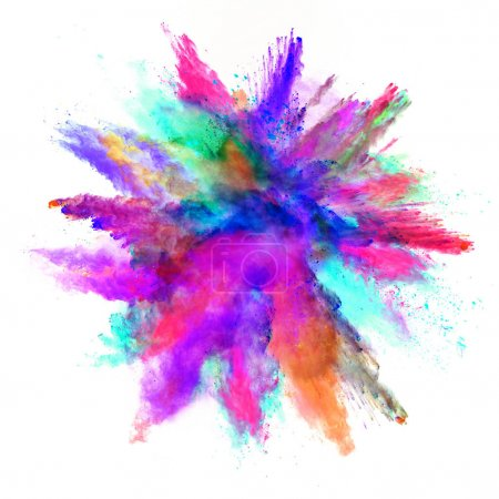 Photo for Abstract colored powder explosion isolated on white background. High resolution texture - Royalty Free Image