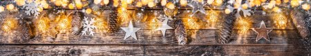 Photo for Decorative Christmas garlands with free space for text. Extra wide background. - Royalty Free Image