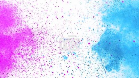 Foto de Explosión de polvo de colores aislado sobre fondo blanco. Resumen de fondo de color - Imagen libre de derechos