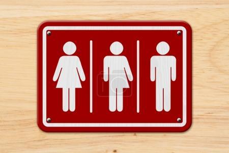 Photo pour Panneau transgenre tout compris, Panneau rouge et blanc avec une femme, symbole transgenre et homme sur bois - image libre de droit