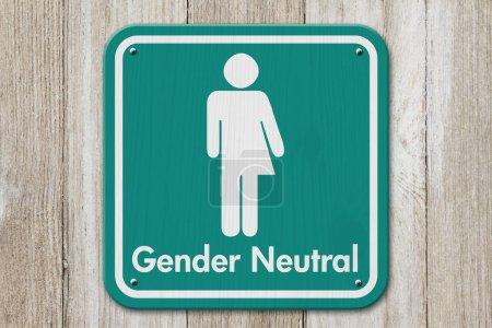 Photo pour Signe transgenre, Signe sarcelle et blanc avec un symbole transgenre avec texte Genre Neutre sur bois altéré - image libre de droit