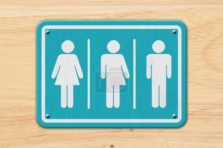 Photo pour Panneau transgenre tout compris, Panneau sarcelle et blanc avec une femme, symbole transgenre et homme sur bois - image libre de droit