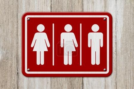 Photo pour Panneau transgenre tout compris, Panneau rouge et blanc avec une femme, symbole transgenre et homme sur bois altéré - image libre de droit
