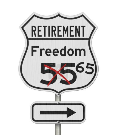 Photo for Retirement with Freedom 65 plan route on a USA highway road sign isolated over white - Royalty Free Image