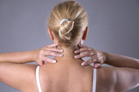 Neck pain, massage of female body, ache in woman's body