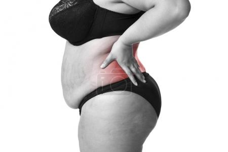 Back pain, fat woman with backache, overweight female body isolated on white background