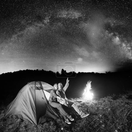 Night tent camping.