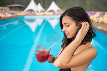 beautiful woman in swimming pool