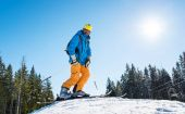 skier with riding equipment