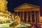 Della Porta Fountain Pantheon Piazza Rotunda Night Rome Italy