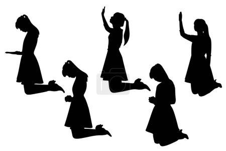 Illustration pour Silhouette de femme prier avec fond blanc - image libre de droit