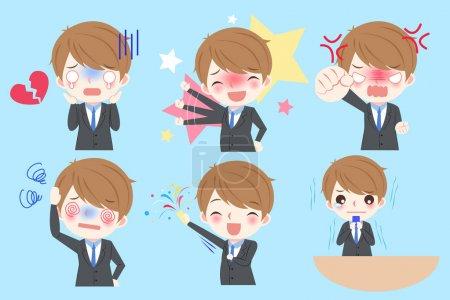 Illustration pour Homme d'affaires dessin animé mignon faire différentes émotions - image libre de droit