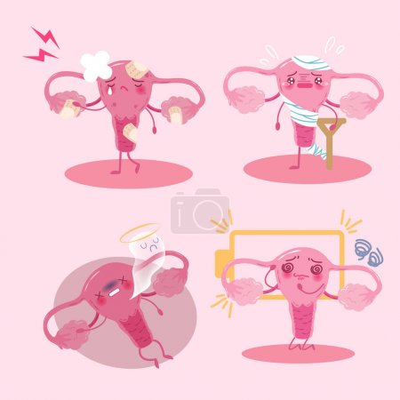 Illustration for Cute cartoon uterus with health problem on pink background - Royalty Free Image