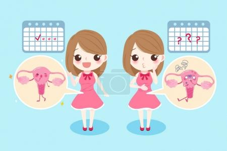 Illustration for Woman with menstruation problem on the blue background - Royalty Free Image