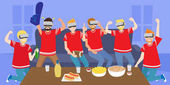 Cartoon people wear vr and celebrate with football party happily
