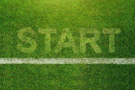 Top view of Soccer Grass Field with Start line and word background, Business Challenge or do something new concept