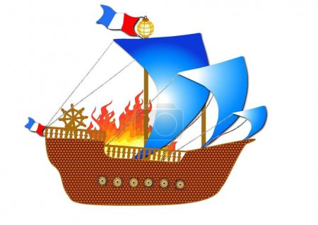 French medieval ship in fire
